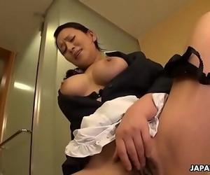 Japanese maid, Rei Kitajima was caught wanking at work,..