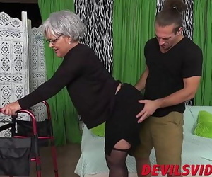 Fat ballsack granny gets dicked from behind by a young..