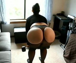 Pawg Mother Does Gam Exercise In Sheer Spandex With..
