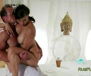Busty deep-throaters fucked on rubdown table