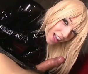 Blonde in Black Latex Deep-throat and Fuck