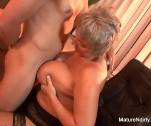 Mature Plumper Takes a Geyser on her Big Natural Tits