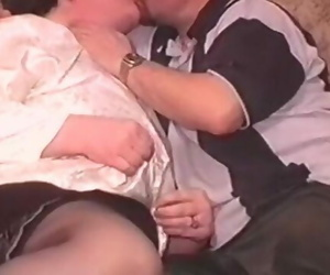 An Older Huge Housewife in Stckings is Fucked by 2 Guys..