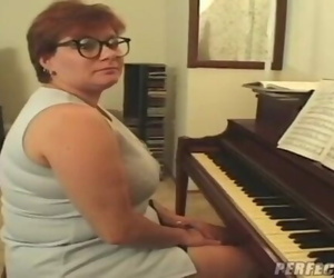 BBW MILF Crimson Head Piano Teacher Fucks by 2 Men