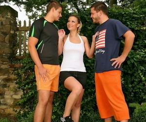 Two soccer players share one girl and also pound each..