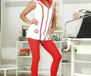 Super warm mummy Eliss Fire in sumptuous nurse uniform..