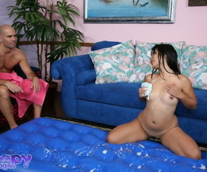 Naughty asian D/s gives a passionate soapy massage with..