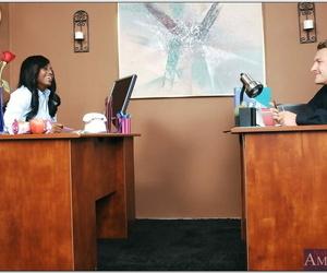 Ebony office secretary Jada Fire gets her wet brown beaver..