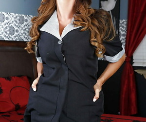 Sexy maid Ariella Ferrera undresses her unifrom and tempts..