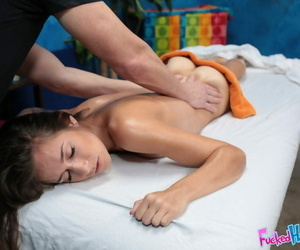 Busty teenage woman Bridget love molten lube massage of..