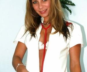 Molten nurse Rachel Evans demonstrating yummy boobies and..