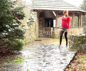 Redhead Sandra lifts her micro-skirt to take a long hot..
