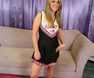 Flexy cheerleader Megan Reece revealing her little hooters..