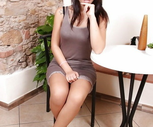 Stockings adorned babe Petra masturbation upskirt views..