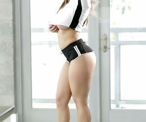 Solo girl Lena Paul revealing cute titties after..