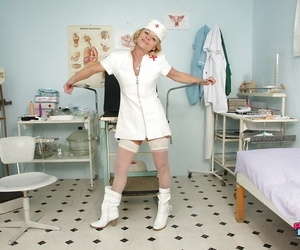 Lascivious mature nurse taking off her panties and..