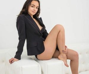 Chick next door type liquidates her blazer to model for..