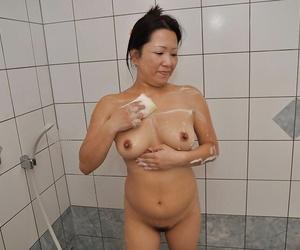 Asian Mummy with shaggy slit and shapely boobs Kumiko..