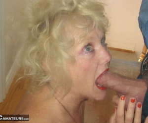 Light-haired granny Ruth gives an ejaculates blowjob and..