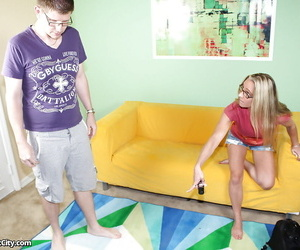 Well-toned mature slut in glasses gives a hj and receives..