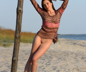 Supple teenager Lola G climbs a pillar on the beach while..
