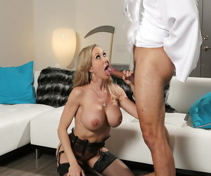 Dick-sucking big-titted mummy Brandi String up gives a..