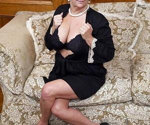Aged adult movie star Karen Summer milks and blows shaft..