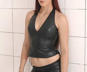 Tall Domme in leather pants coercing masculine and gal..