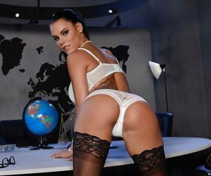 Hot babe Peta Jensen posing solo in white panties and..