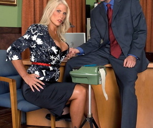Blonde wifey Charley Rose stretches her legs for a..