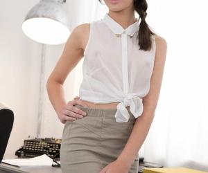 Secretary Kastiel Virgin in see through T-shirt gets face..