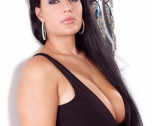 Brunette solo model Carmen loosing fat hooters on way to..