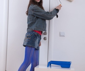 Thin teen Lolita uncovers her hairy beaver and small..