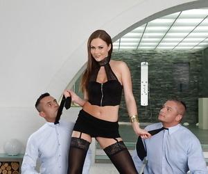 Stocking attired Tina Kay taking double penetration during..