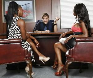 Office threesome groupsex with Black mummy Jasmine Webb..