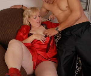 Beauty ash-blonde girl Anne taking cum shot on thick ass..