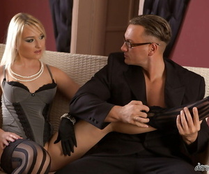 Molten light-haired in stockings Cintia Moore gives a..