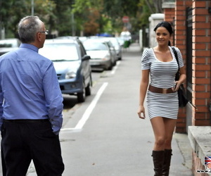 Brunette in knee high shoes and skirt gets picked up by..
