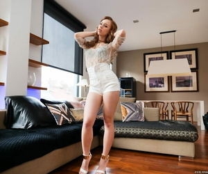 Congenital redhead Kira Thorn unclothes prior to a Double..