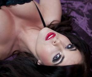 Girl-drool hot stunner Megan Coxxx posing in lingerie on..