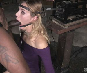 Restrained blond Mona Wales is throat fucked by white and..