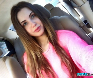 Cool accomplished Elle Rose takes a self shot or two to..