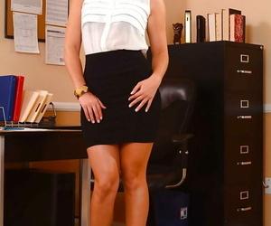 Busty secretary honey Abby Cross reveals her ass and fat..
