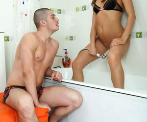 Tub time for this brunette stunner means a hard nut fuck..