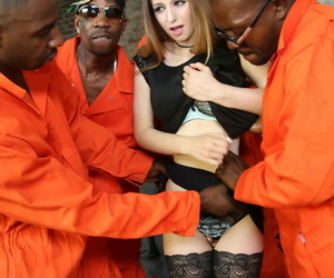 White chick Stella Cox finds herself gang-fucked by ebony..