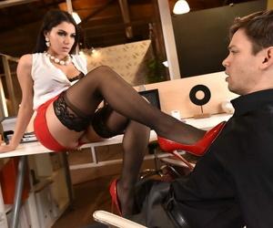European dark-haired Valentina Nappi gives a footjob and..