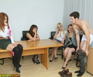 Office boy gets fucked and deepthroated in warm CFNM..