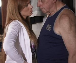 Youthfull chick and her old sugar daddy take turns..