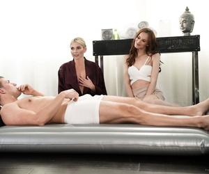 Massage salon workers Christie Stevens & Jillian Janson..