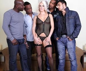 Platinum blonde slut Blanche Bradburry does a gang-fuck..